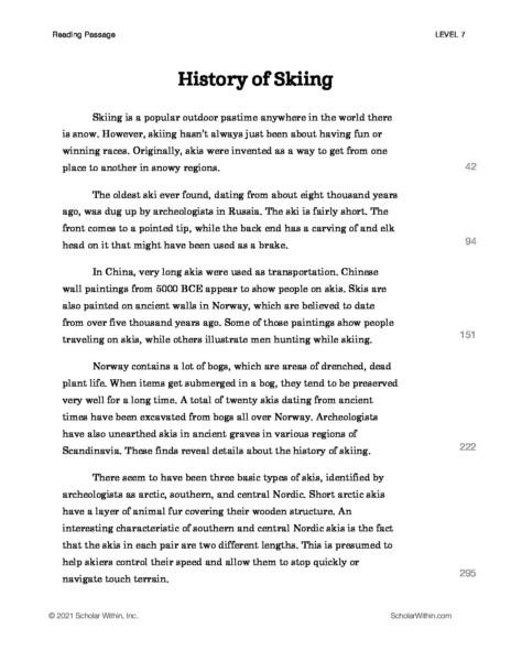 Grade 7: History of Skiing (Instructor)