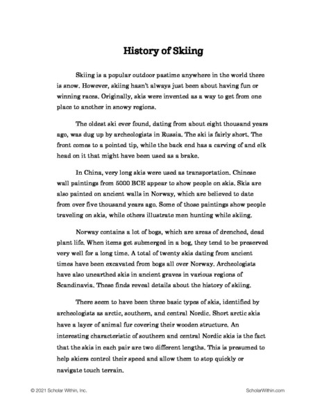Grade 7: History of Skiing (Student)